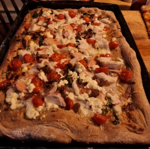 Here's how our shrimp and goat cheese pizza turned out