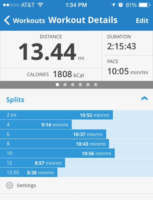 Our mile splits from MapMyRun