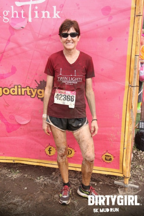 My mom posing after the Dirty Girl Mud Run