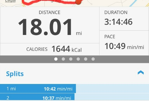 18 Miles during marathon training