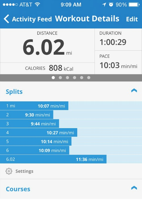 My 6 mile splits