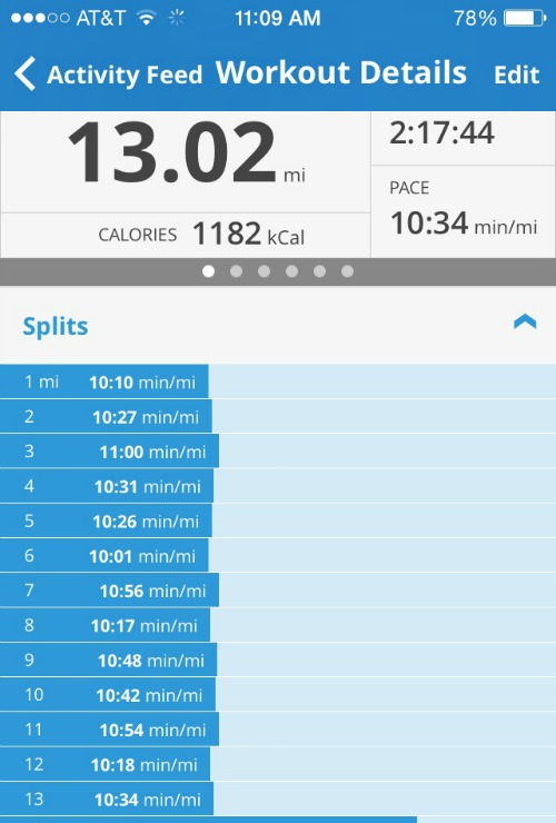 Consistent mile splits during marathon training