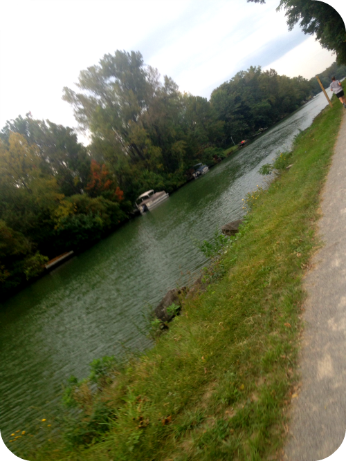 Running along the Erie Canal during the Rochester Marathon