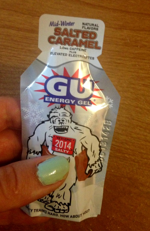 Salted Caramel GU - testing a new flavor of gels!