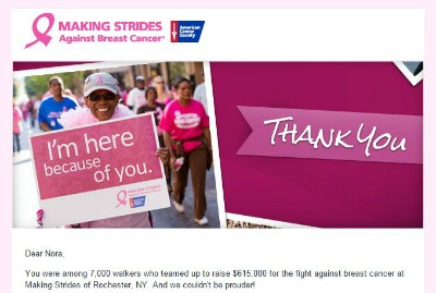 I participated in the Making Strides Against Breast Cancer Walk